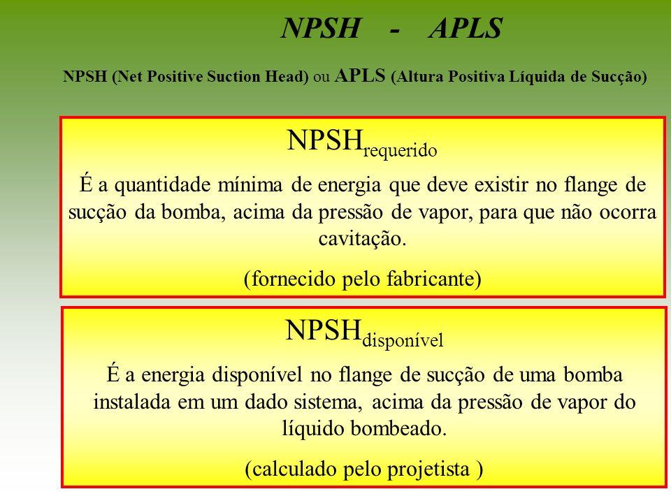 NPSH requerido É a quantidade mínima de energia que deve existir no flange de sucção da bomba, acima da pressão de vapor, para que não ocorra cavitaçã