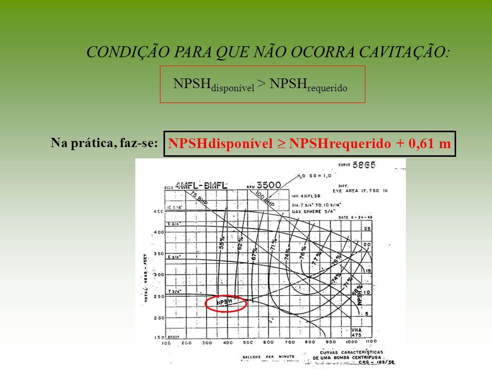 CONDIÇÃO PARA QUE NÃO OCORRA CAVITAÇÃO: NPSH disponível > NPSH requerido NPSHdisponível NPSHrequerido + 0,61 m Na prática, faz-se: