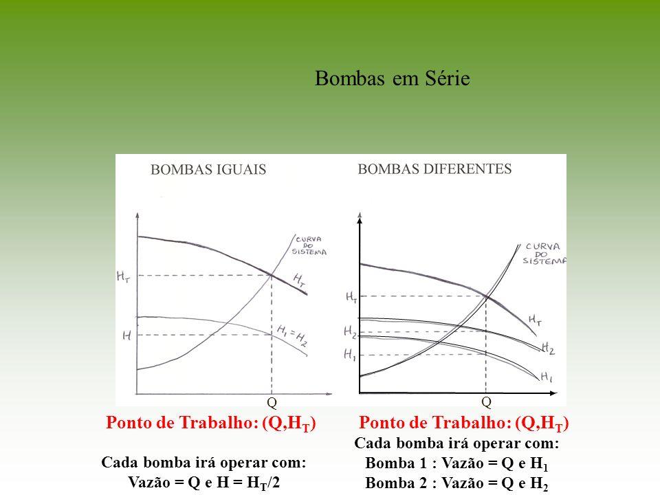 Cada bomba irá operar com: Vazão = Q e H = H T /2 Cada bomba irá operar com: Bomba 1 : Vazão = Q e H 1 Bomba 2 : Vazão = Q e H 2 Ponto de Trabalho: (Q