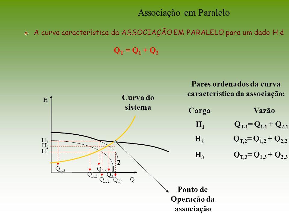 Q H Pares ordenados da curva característica da associação: VazãoCarga H1H1 Q T,1 = Q 1,1 + Q 2,1 H2H2 Q T,2 = Q 1,2 + Q 2,2 H3H3 Q T,3 = Q 1,3 + Q 2,3