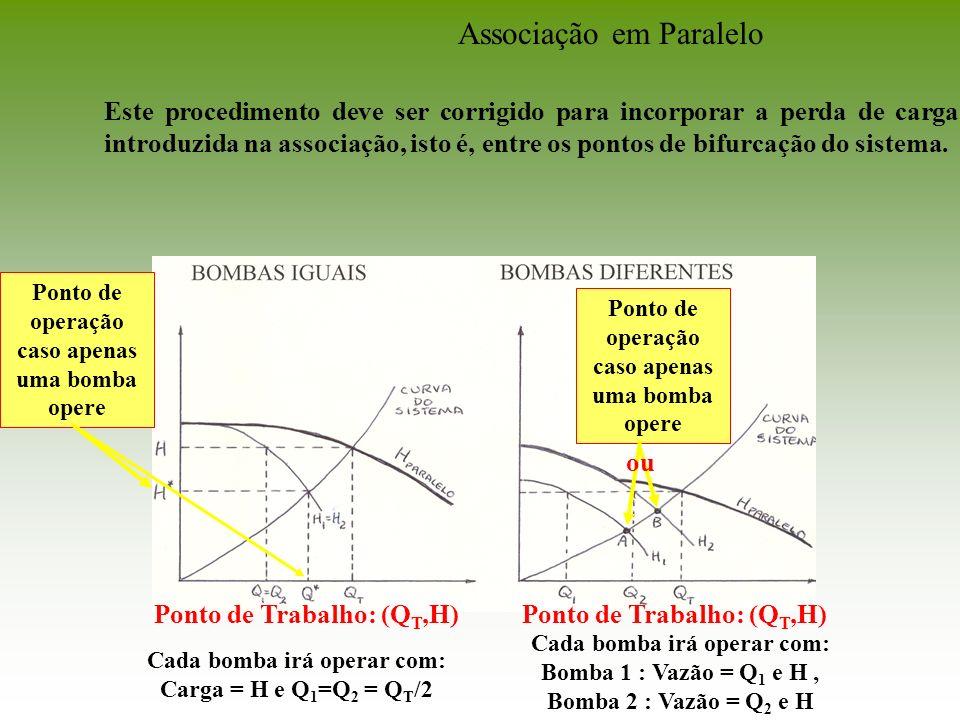 Ponto de Trabalho: (Q T,H) Cada bomba irá operar com: Carga = H e Q 1 =Q 2 = Q T /2 Cada bomba irá operar com: Bomba 1 : Vazão = Q 1 e H, Bomba 2 : Va