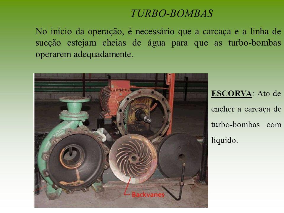 TURBO-BOMBAS No início da operação, é necessário que a carcaça e a linha de sucção estejam cheias de água para que as turbo-bombas operarem adequadame