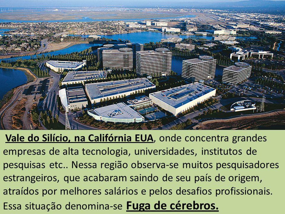 Vale do Silício, na Califórnia EUA, onde concentra grandes empresas de alta tecnologia, universidades, institutos de pesquisas etc.. Nessa região obse