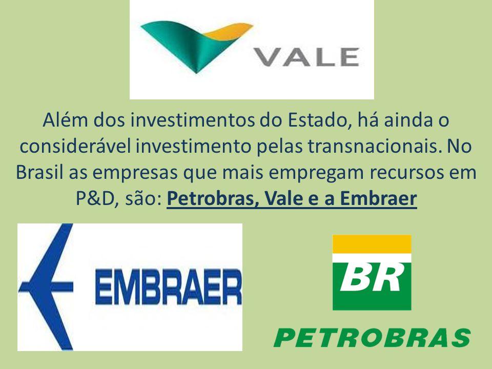 Além dos investimentos do Estado, há ainda o considerável investimento pelas transnacionais. No Brasil as empresas que mais empregam recursos em P&D,