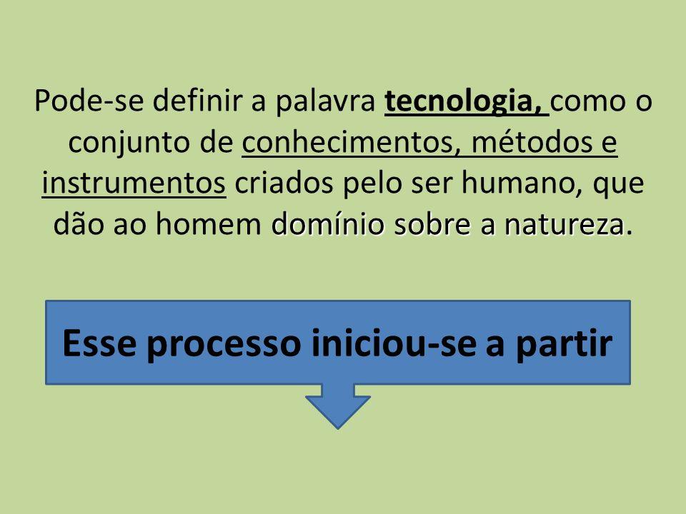 domínio sobre a natureza Pode-se definir a palavra tecnologia, como o conjunto de conhecimentos, métodos e instrumentos criados pelo ser humano, que d