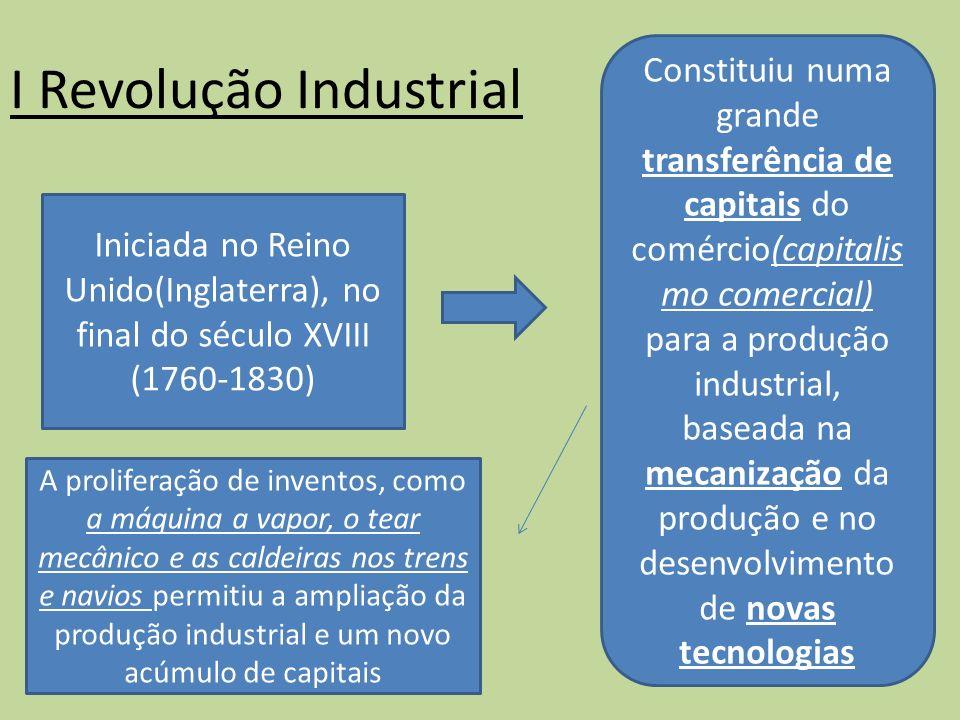 I Revolução Industrial Iniciada no Reino Unido(Inglaterra), no final do século XVIII (1760-1830) Constituiu numa grande transferência de capitais do c