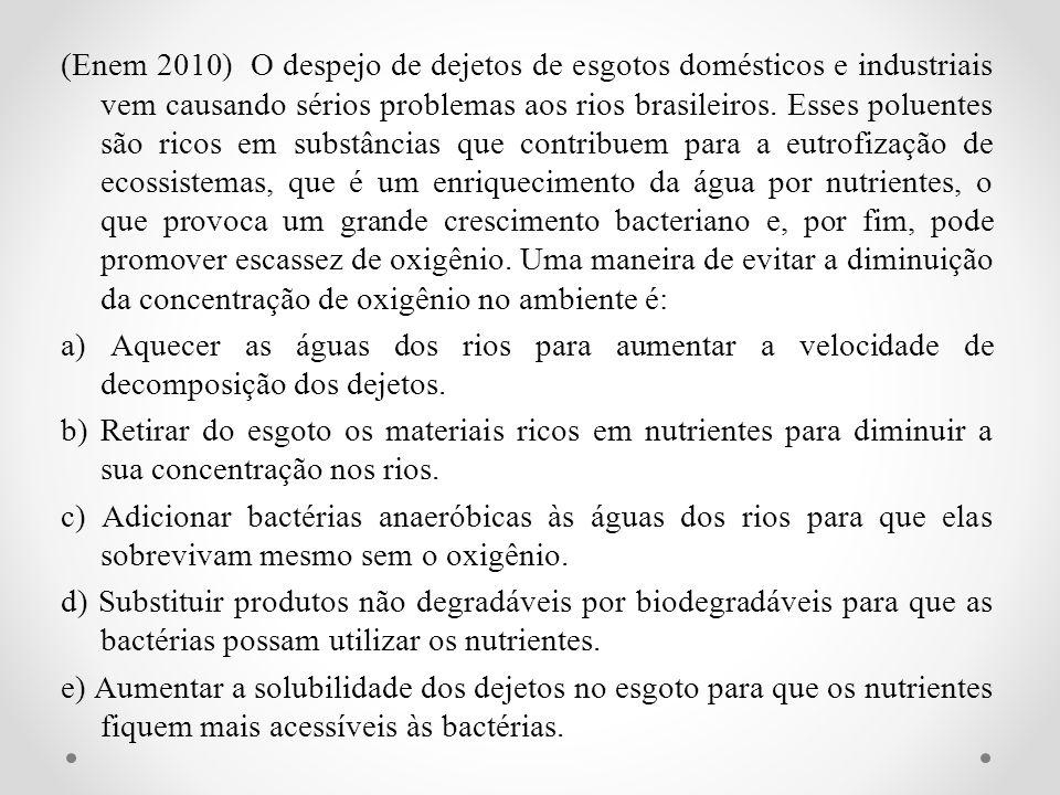 (Enem 2010) O despejo de dejetos de esgotos domésticos e industriais vem causando sérios problemas aos rios brasileiros. Esses poluentes são ricos em