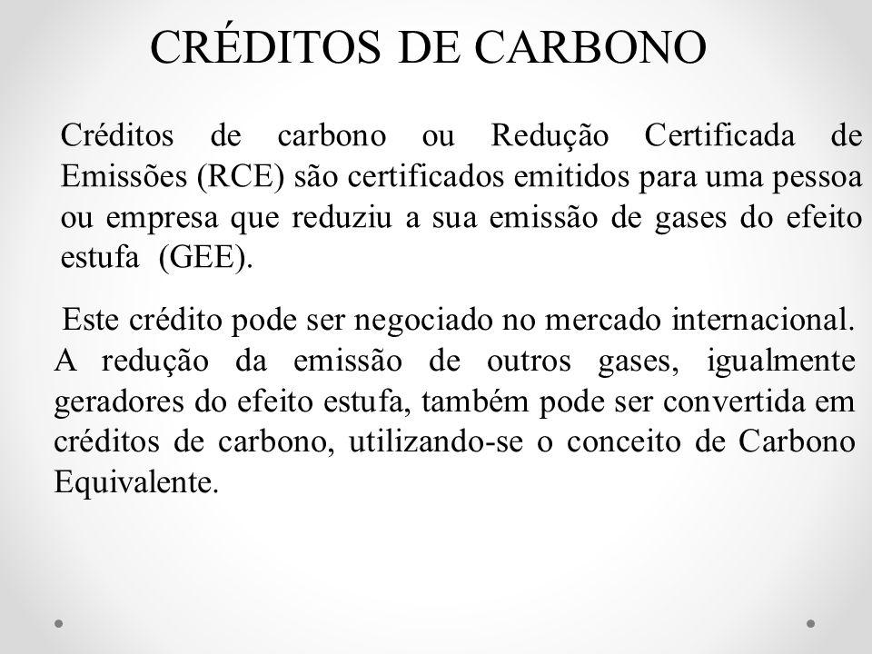CRÉDITOS DE CARBONO Créditos de carbono ou Redução Certificada de Emissões (RCE) são certificados emitidos para uma pessoa ou empresa que reduziu a su