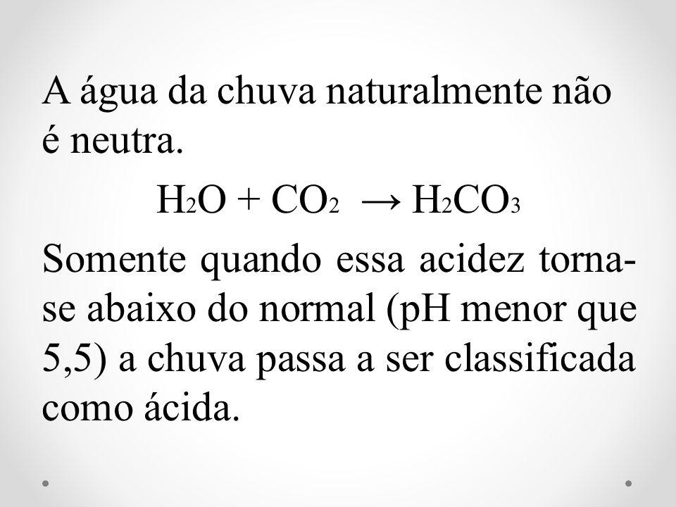 A água da chuva naturalmente não é neutra. H 2 O + CO 2 H 2 CO 3 Somente quando essa acidez torna- se abaixo do normal (pH menor que 5,5) a chuva pass