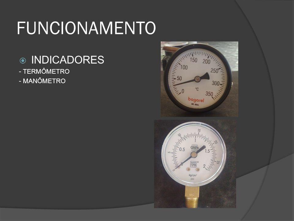 FUNCIONAMENTO INDICADORES - TERMÔMETRO - MANÔMETRO