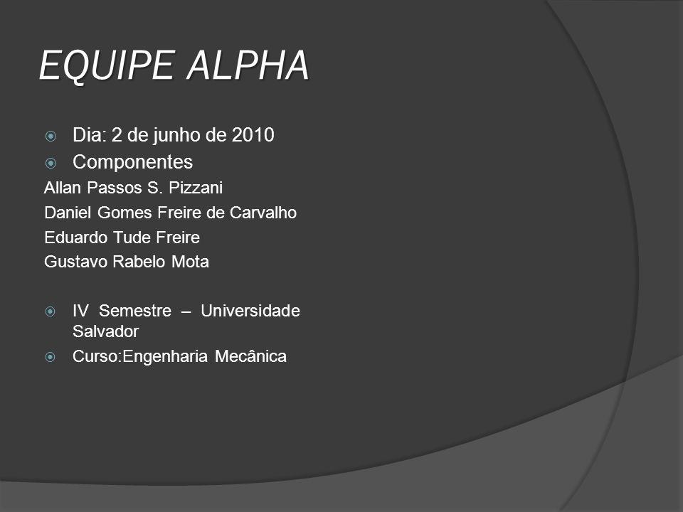 EQUIPE ALPHA Dia: 2 de junho de 2010 Componentes Allan Passos S. Pizzani Daniel Gomes Freire de Carvalho Eduardo Tude Freire Gustavo Rabelo Mota IV Se