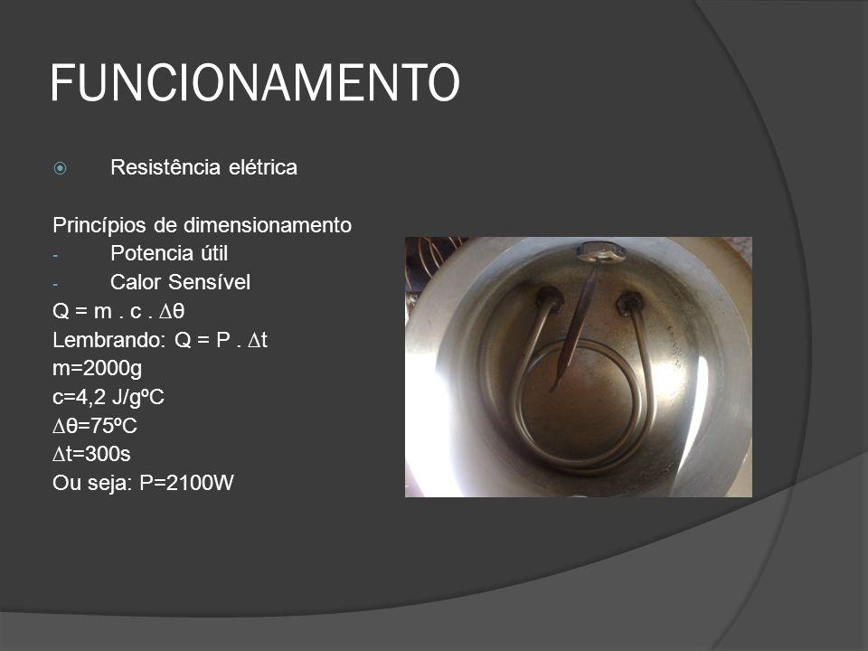 FUNCIONAMENTO Resistência elétrica Princípios de dimensionamento - Potencia útil - Calor Sensível Q = m. c. θ Lembrando: Q = P. t m=2000g c=4,2 J/gºC