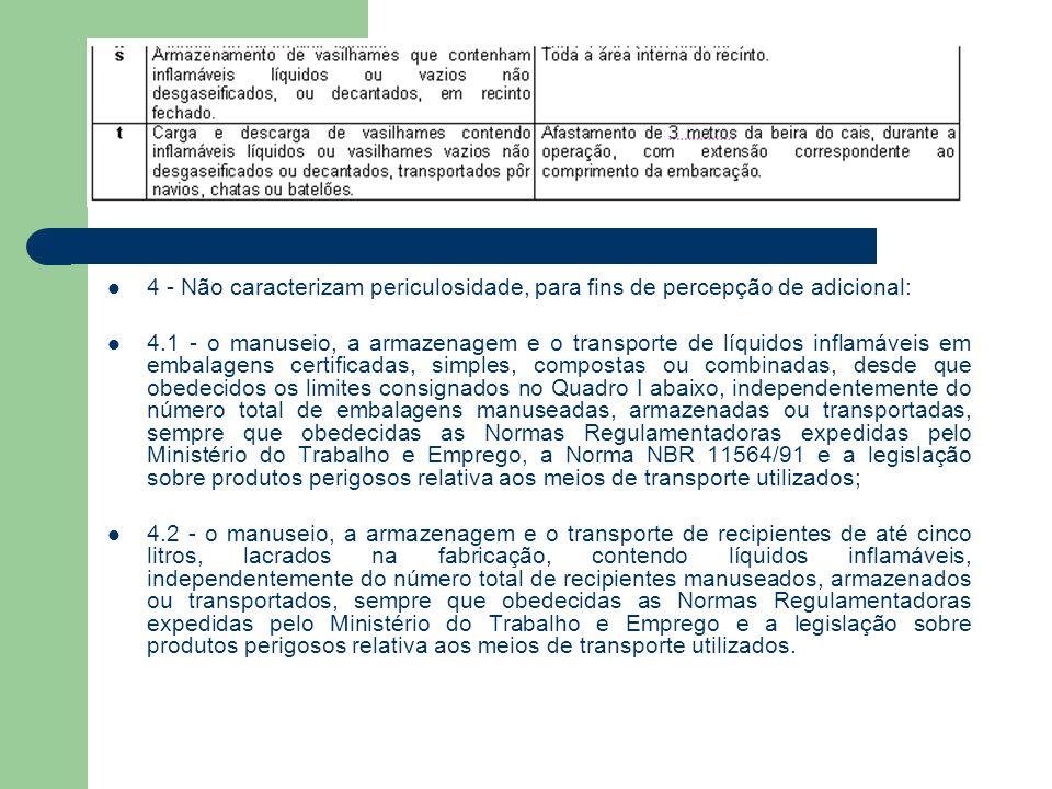 4 - Não caracterizam periculosidade, para fins de percepção de adicional: 4.1 - o manuseio, a armazenagem e o transporte de líquidos inflamáveis em embalagens certificadas, simples, compostas ou combinadas, desde que obedecidos os limites consignados no Quadro I abaixo, independentemente do número total de embalagens manuseadas, armazenadas ou transportadas, sempre que obedecidas as Normas Regulamentadoras expedidas pelo Ministério do Trabalho e Emprego, a Norma NBR 11564/91 e a legislação sobre produtos perigosos relativa aos meios de transporte utilizados; 4.2 - o manuseio, a armazenagem e o transporte de recipientes de até cinco litros, lacrados na fabricação, contendo líquidos inflamáveis, independentemente do número total de recipientes manuseados, armazenados ou transportados, sempre que obedecidas as Normas Regulamentadoras expedidas pelo Ministério do Trabalho e Emprego e a legislação sobre produtos perigosos relativa aos meios de transporte utilizados.