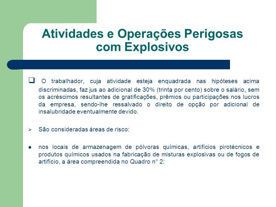 Atividades e Operações Perigosas com Explosivos O trabalhador, cuja atividade esteja enquadrada nas hipóteses acima discriminadas, faz jus ao adiciona