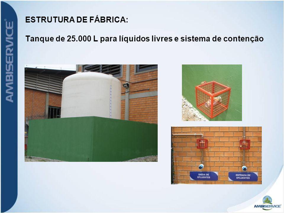 ESTRUTURA DE FÁBRICA: Tanque de 25.000 L para líquidos livres e sistema de contenção
