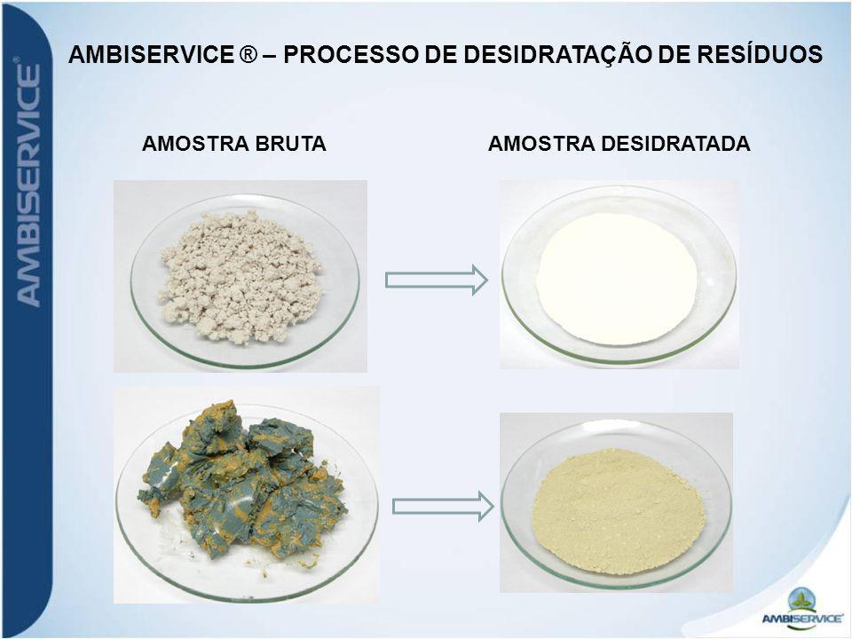 AMOSTRA BRUTAAMOSTRA DESIDRATADA AMBISERVICE ® – PROCESSO DE DESIDRATAÇÃO DE RESÍDUOS