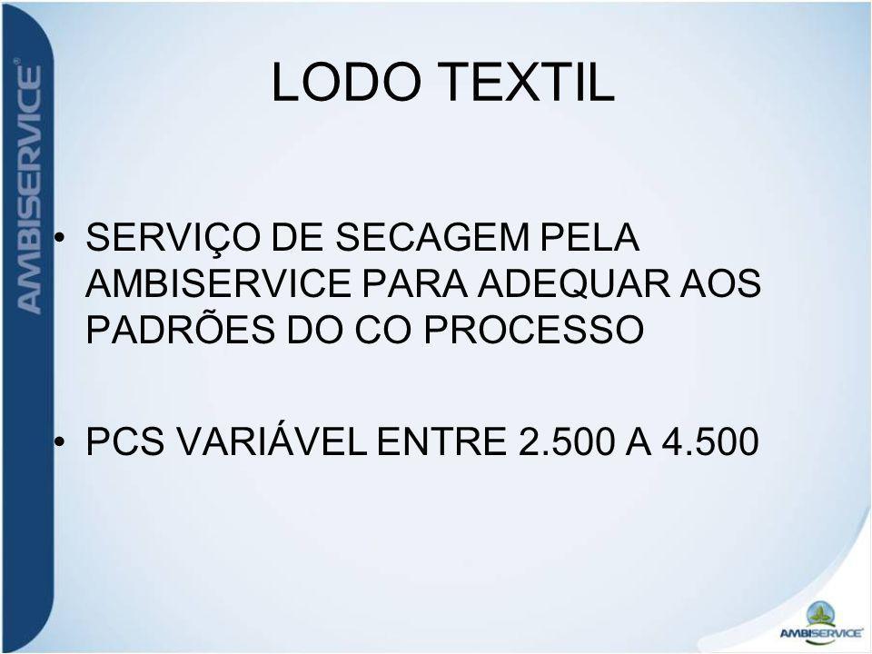 LODO TEXTIL SERVIÇO DE SECAGEM PELA AMBISERVICE PARA ADEQUAR AOS PADRÕES DO CO PROCESSO PCS VARIÁVEL ENTRE 2.500 A 4.500