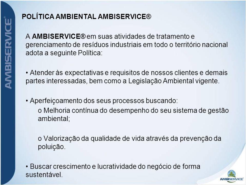 AMBISERVICE ® – FLUXOGRAMA DO PROCESSO RECEBIMENTO DE RESÍDUOS ARMAZENAMENTO DE RESÍDUOS ALIMENTAÇÃO DO FORNO RESÍDUO DESIDRATADO CO-PROCESSAMENTO MATÉRIA PRIMA / COMBUSTÍVEL RECICLAGEM FERTILIZANTES / FUNDIÇÃO / IND.