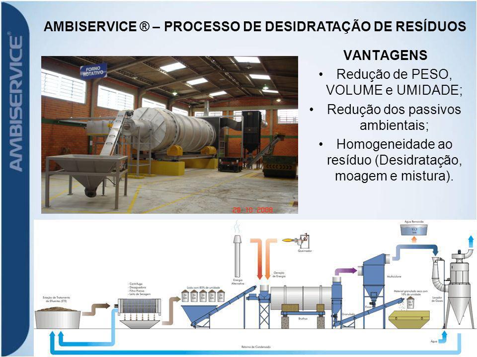 VANTAGENS Redução de PESO, VOLUME e UMIDADE; Redução dos passivos ambientais; Homogeneidade ao resíduo (Desidratação, moagem e mistura).