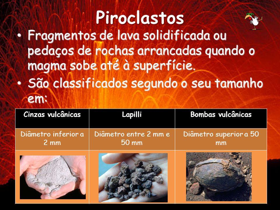 Piroclastos Fragmentos de lava solidificada ou pedaços de rochas arrancadas quando o magma sobe até à superfície. Fragmentos de lava solidificada ou p