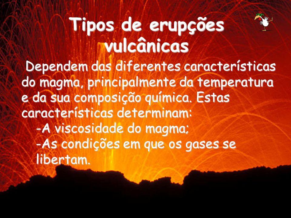 Tipos de erupções vulcânicas Dependem das diferentes características do magma, principalmente da temperatura e da sua composição química. Estas caract