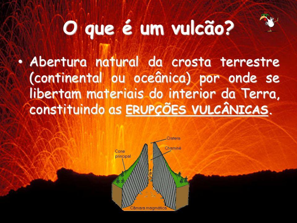 O que é um vulcão? Abertura natural da crosta terrestre (continental ou oceânica) por onde se libertam materiais do interior da Terra, constituindo as
