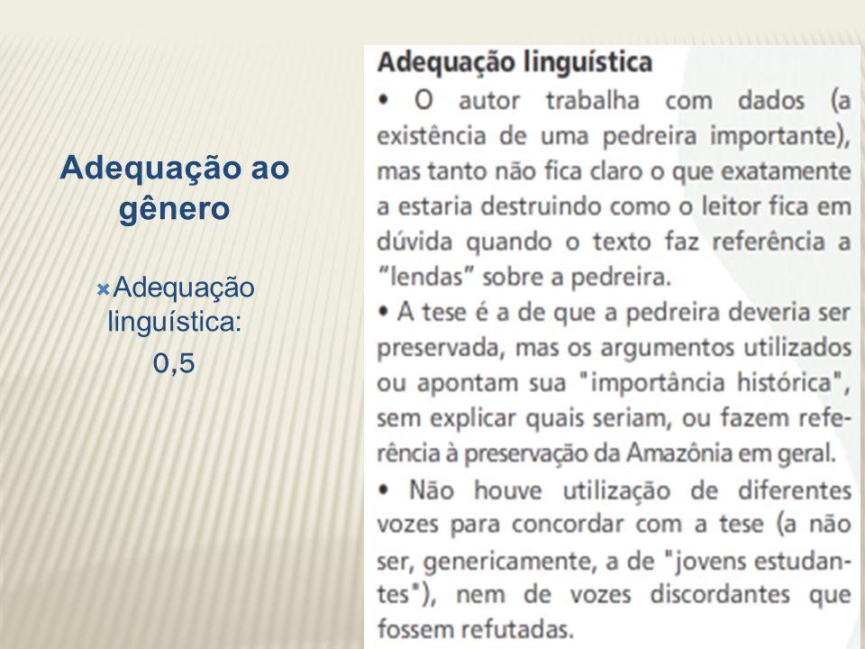 Adequação ao gênero Adequação linguística: 0,5