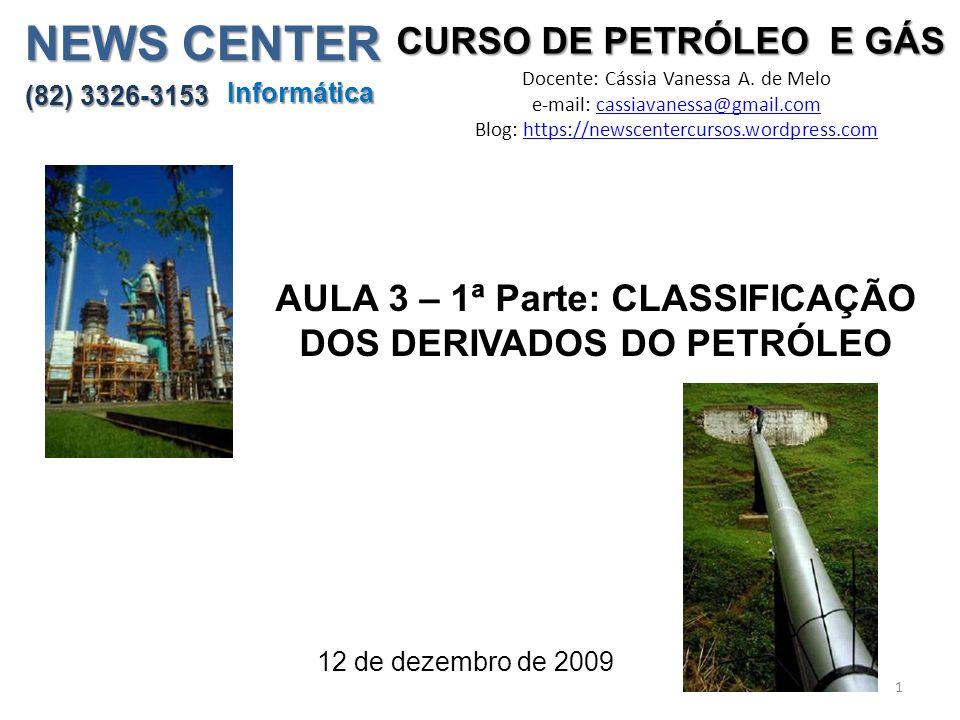 CURSO DE PETRÓLEO E GÁS Docente: Cássia Vanessa A. de Melo e-mail: cassiavanessa@gmail.comcassiavanessa@gmail.com Blog: https://newscentercursos.wordp