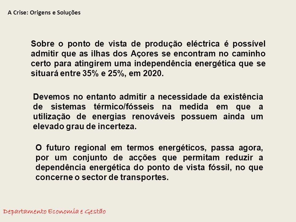 A Crise: Origens e Soluções Departamento Economia e Gestão Sobre o ponto de vista de produção eléctrica é possível admitir que as ilhas dos Açores se encontram no caminho certo para atingirem uma independência energética que se situará entre 35% e 25%, em 2020.
