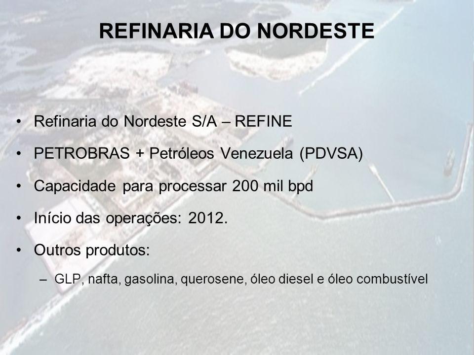 REFINARIA DO NORDESTE Refinaria do Nordeste S/A – REFINE PETROBRAS + Petróleos Venezuela (PDVSA) Capacidade para processar 200 mil bpd Início das oper