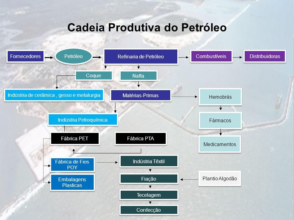Cadeia Produtiva do Petróleo Indústria Petroquímica Fármacos Medicamentos Fábrica PTA Fábrica PET Embalagens Plasticas Embalagens Plasticas Fábrica de