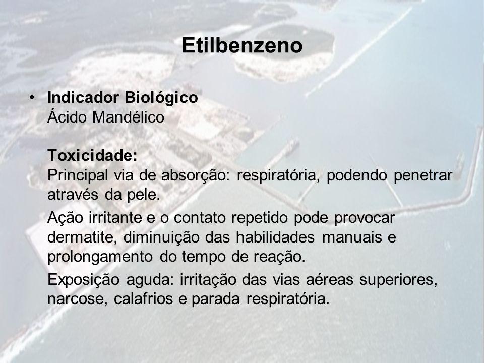Etilbenzeno Indicador Biológico Ácido Mandélico Toxicidade: Principal via de absorção: respiratória, podendo penetrar através da pele. Ação irritante