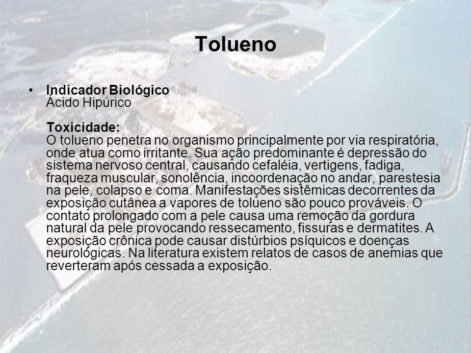 Tolueno Indicador Biológico Ácido Hipúrico Toxicidade: O tolueno penetra no organismo principalmente por via respiratória, onde atua como irritante. S
