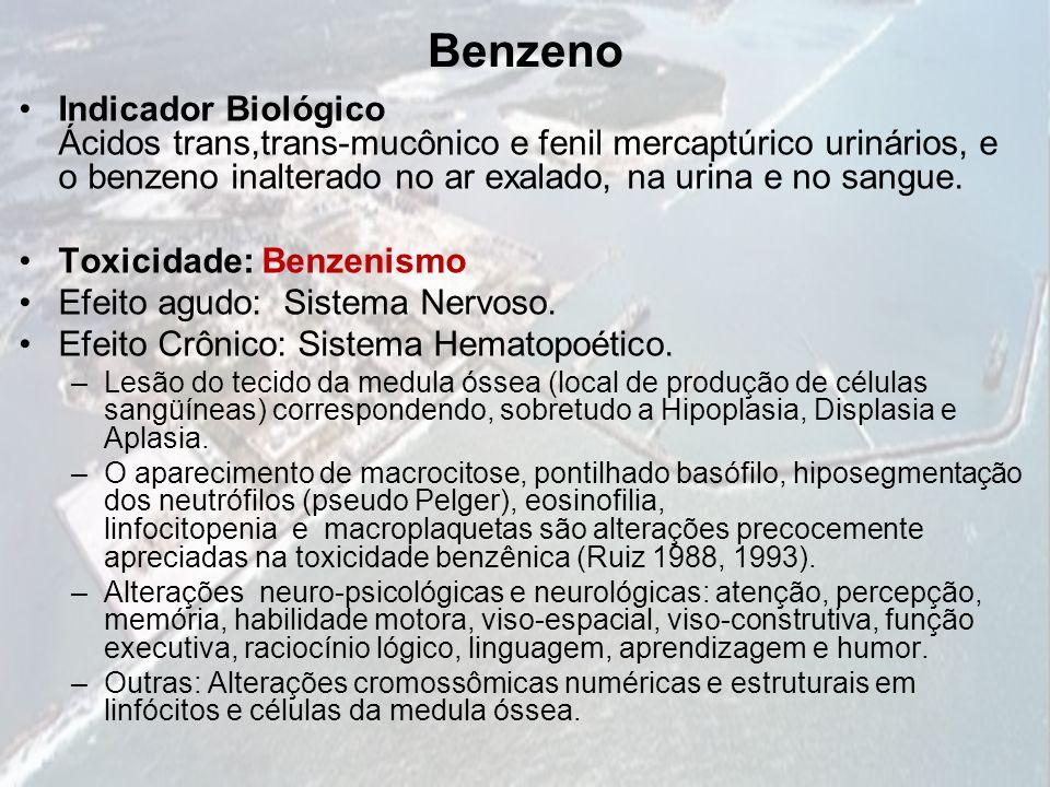 Benzeno Indicador Biológico Ácidos trans,trans-mucônico e fenil mercaptúrico urinários, e o benzeno inalterado no ar exalado, na urina e no sangue. To