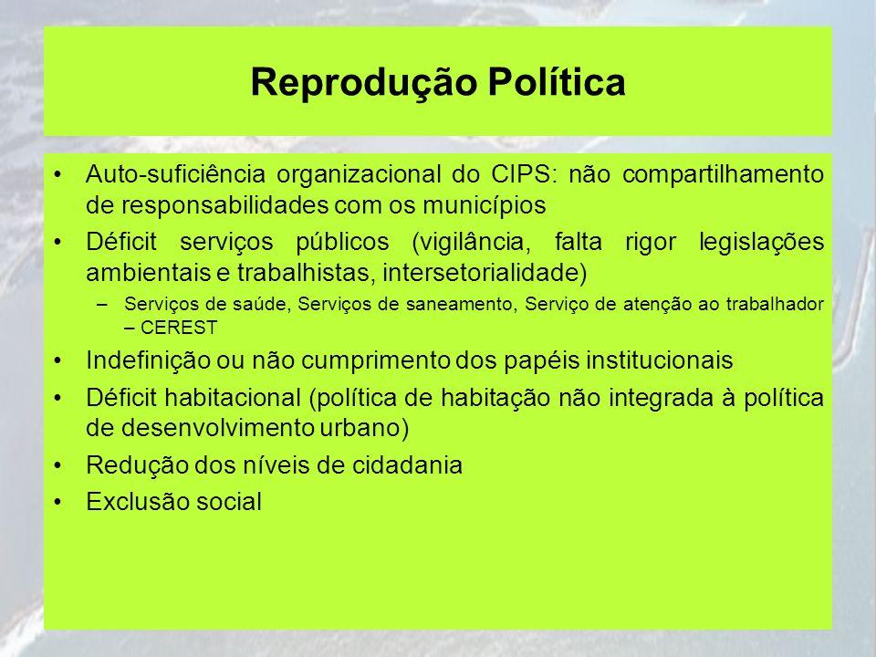 Reprodução Política Auto-suficiência organizacional do CIPS: não compartilhamento de responsabilidades com os municípios Déficit serviços públicos (vi
