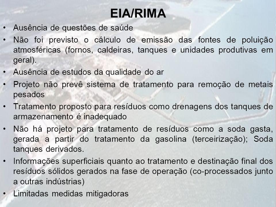 EIA/RIMA Ausência de questões de saúde Não foi previsto o cálculo de emissão das fontes de poluição atmosféricas (fornos, caldeiras, tanques e unidade