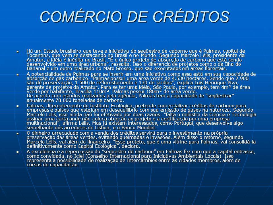 COMÉRCIO DE CRÉDITOS COMÉRCIO DE CRÉDITOS Há um Estado brasileiro que teve a iniciativa do seqüestro de caborno que é Palmas, capital de Tocantins, qu