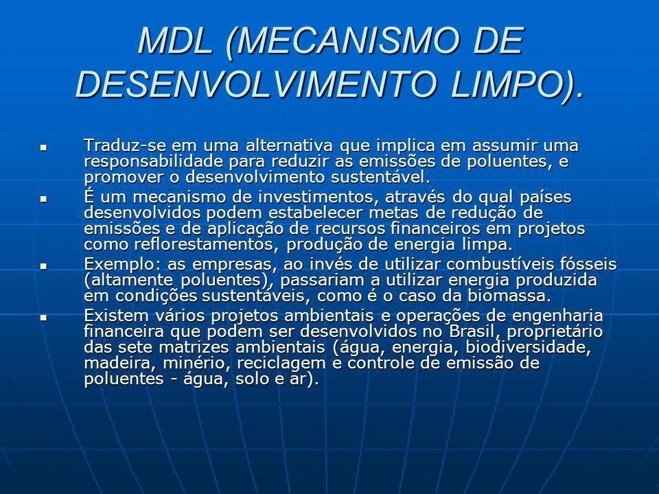MDL (MECANISMO DE DESENVOLVIMENTO LIMPO). Traduz-se em uma alternativa que implica em assumir uma responsabilidade para reduzir as emissões de poluent