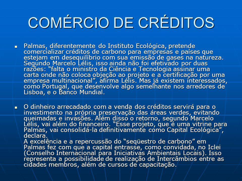 COMÉRCIO DE CRÉDITOS Palmas, diferentemente do Instituto Ecológica, pretende comercializar créditos de carbono para empresas e países que estejam em d