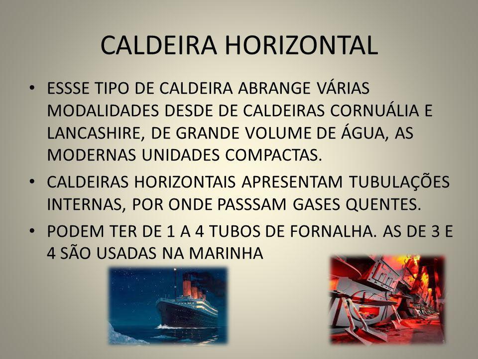 CALDEIRA HORIZONTAL ESSSE TIPO DE CALDEIRA ABRANGE VÁRIAS MODALIDADES DESDE DE CALDEIRAS CORNUÁLIA E LANCASHIRE, DE GRANDE VOLUME DE ÁGUA, AS MODERNAS