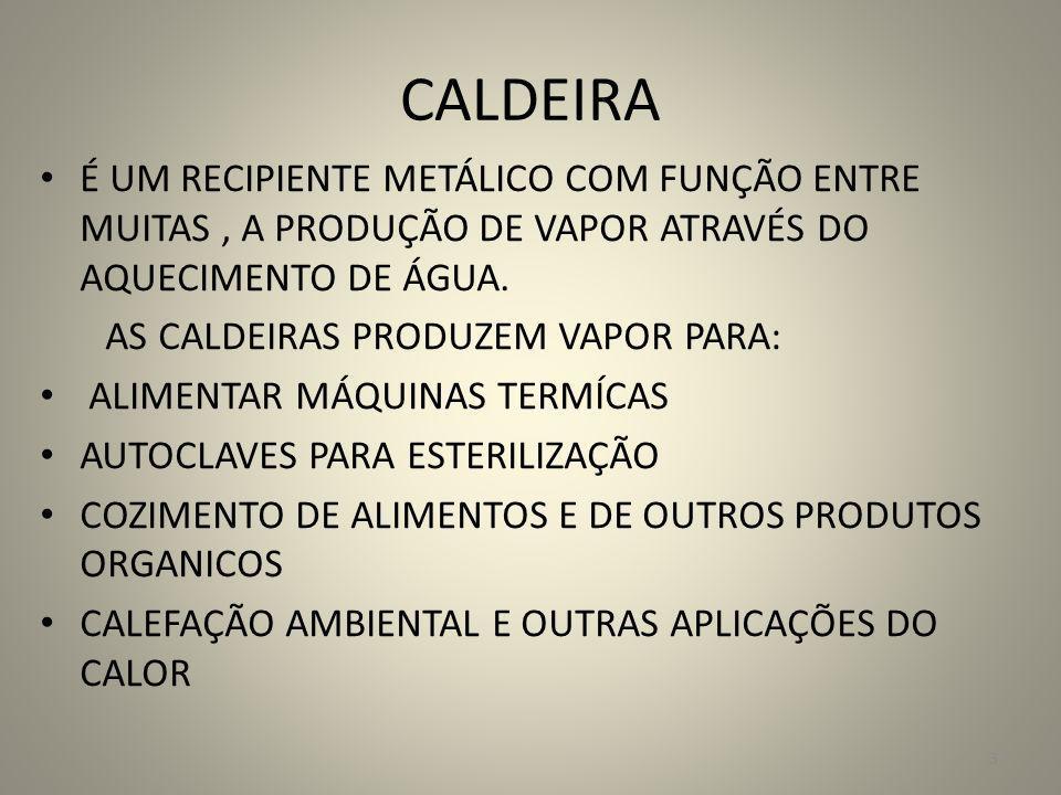 CALDEIRA É UM RECIPIENTE METÁLICO COM FUNÇÃO ENTRE MUITAS, A PRODUÇÃO DE VAPOR ATRAVÉS DO AQUECIMENTO DE ÁGUA. AS CALDEIRAS PRODUZEM VAPOR PARA: ALIME
