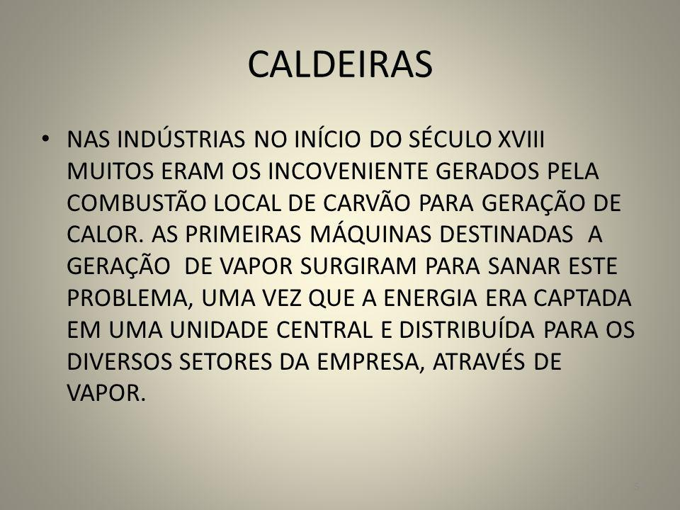 CALDEIRAS NAS INDÚSTRIAS NO INÍCIO DO SÉCULO XVIII MUITOS ERAM OS INCOVENIENTE GERADOS PELA COMBUSTÃO LOCAL DE CARVÃO PARA GERAÇÃO DE CALOR. AS PRIMEI
