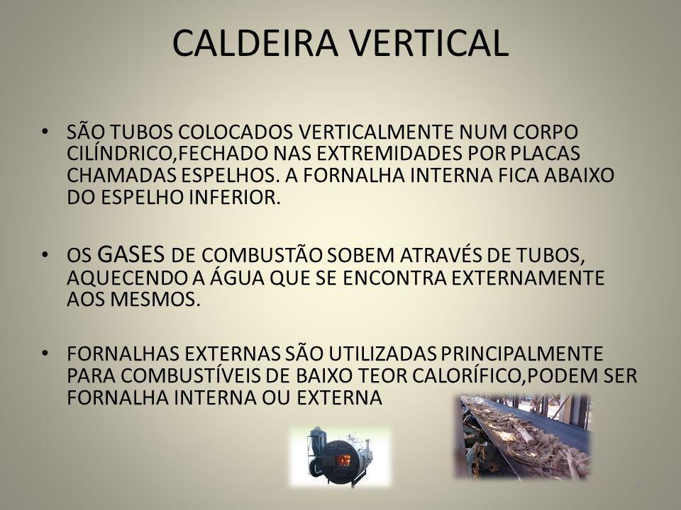 CALDEIRA VERTICAL SÃO TUBOS COLOCADOS VERTICALMENTE NUM CORPO CILÍNDRICO,FECHADO NAS EXTREMIDADES POR PLACAS CHAMADAS ESPELHOS. A FORNALHA INTERNA FIC