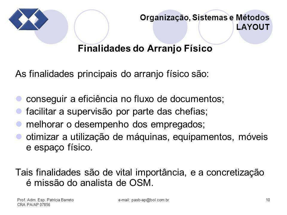 Prof. Adm. Esp. Patrícia Barreto CRA PA/AP 07856 e-mail: pasb-ap@bol.com.br10 Organização, Sistemas e Métodos LAYOUT Finalidades do Arranjo Físico As