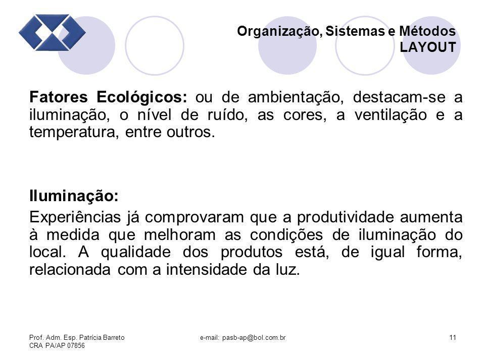 Prof. Adm. Esp. Patrícia Barreto CRA PA/AP 07856 e-mail: pasb-ap@bol.com.br11 Organização, Sistemas e Métodos LAYOUT Fatores Ecológicos: ou de ambient