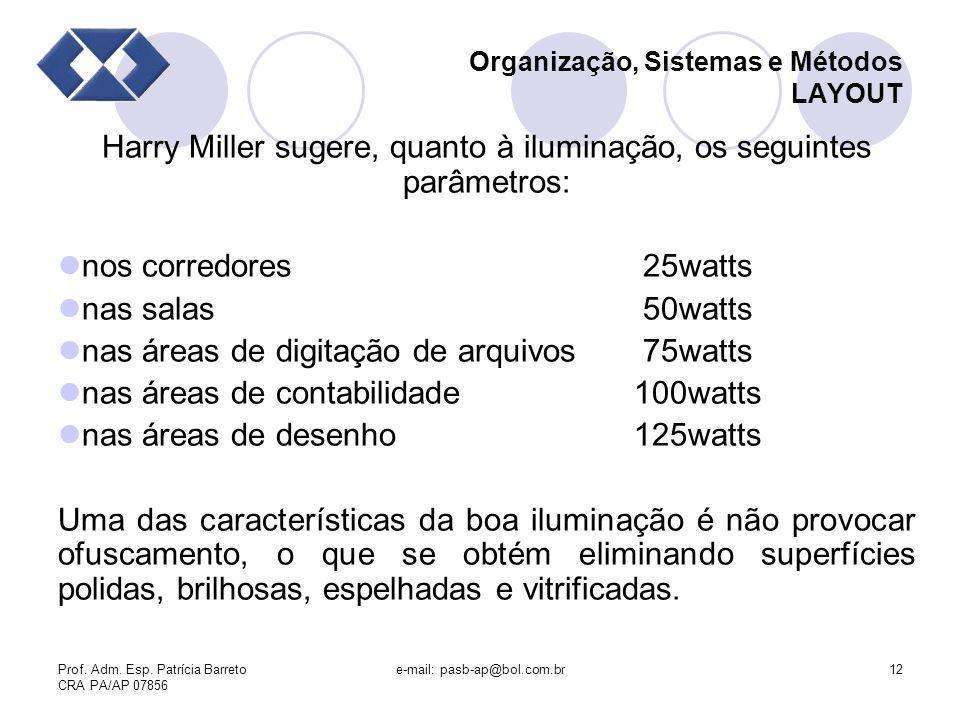 Prof. Adm. Esp. Patrícia Barreto CRA PA/AP 07856 e-mail: pasb-ap@bol.com.br12 Organização, Sistemas e Métodos LAYOUT Harry Miller sugere, quanto à ilu