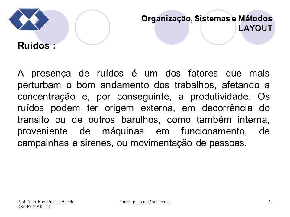 Prof. Adm. Esp. Patrícia Barreto CRA PA/AP 07856 e-mail: pasb-ap@bol.com.br13 Organização, Sistemas e Métodos LAYOUT Ruídos : A presença de ruídos é u