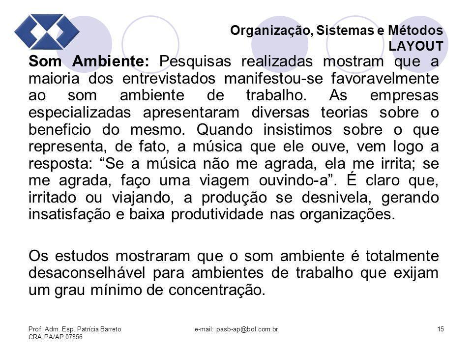 Prof. Adm. Esp. Patrícia Barreto CRA PA/AP 07856 e-mail: pasb-ap@bol.com.br15 Organização, Sistemas e Métodos LAYOUT Som Ambiente: Pesquisas realizada