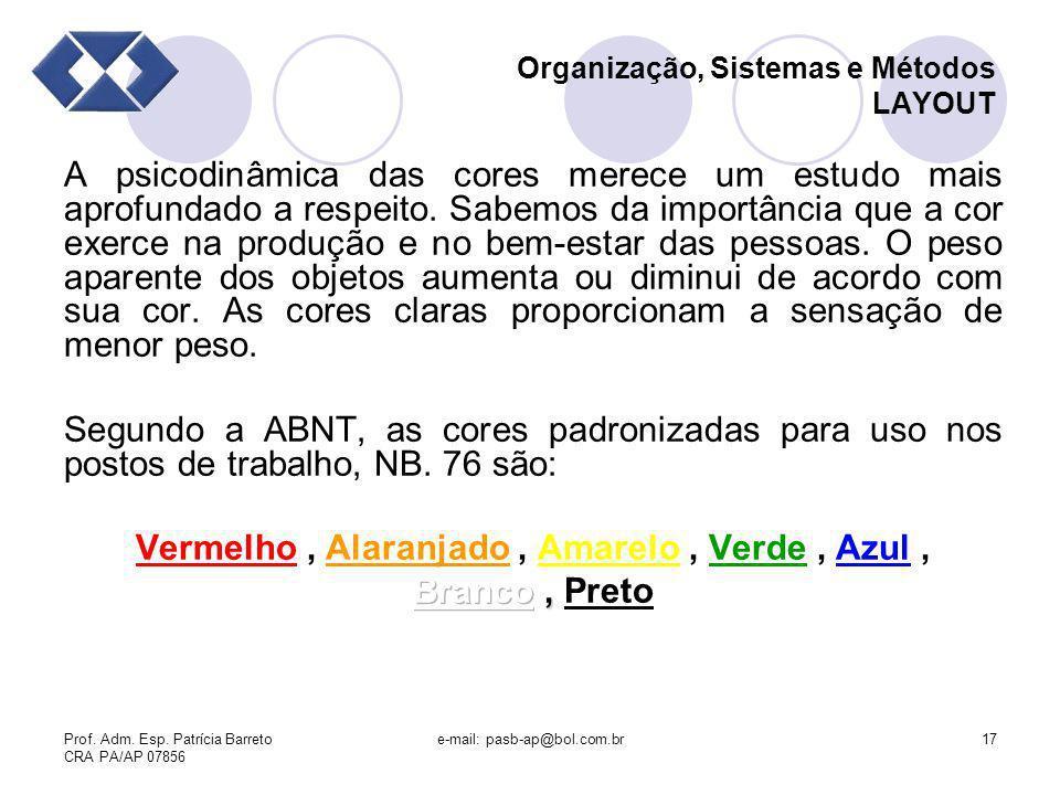 Prof. Adm. Esp. Patrícia Barreto CRA PA/AP 07856 e-mail: pasb-ap@bol.com.br17 Organização, Sistemas e Métodos LAYOUT