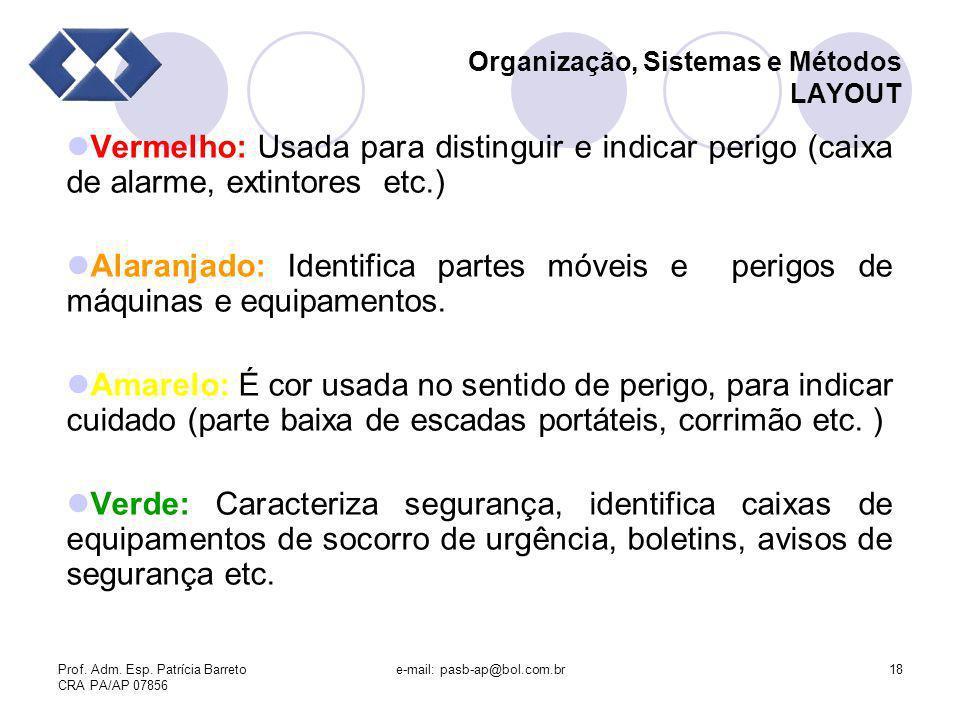 Prof. Adm. Esp. Patrícia Barreto CRA PA/AP 07856 e-mail: pasb-ap@bol.com.br18 Organização, Sistemas e Métodos LAYOUT Vermelho: Usada para distinguir e